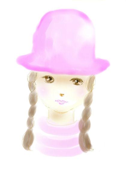 ピンクの帽子の少女